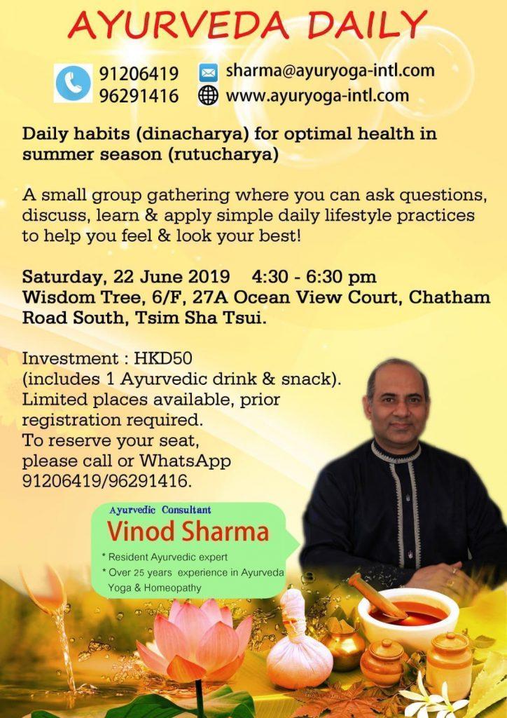 Workshop on Daily Habits & Lifestyle by Mr. Vinod Sharma Hong Kong